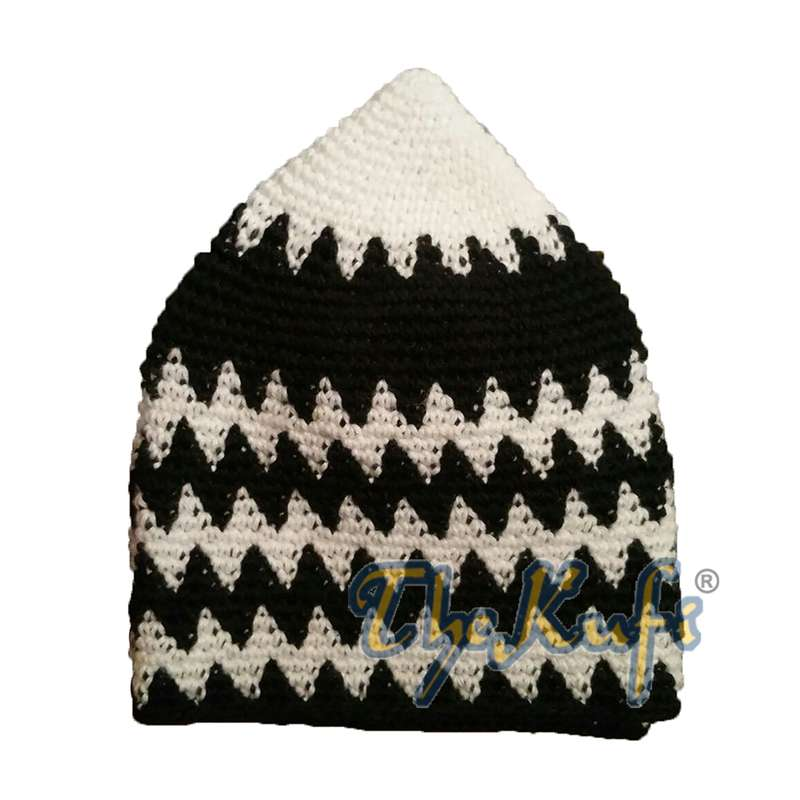Hand-crocheted Cotton Sturdy White & Black Bottom Zigzag Kufi Hat