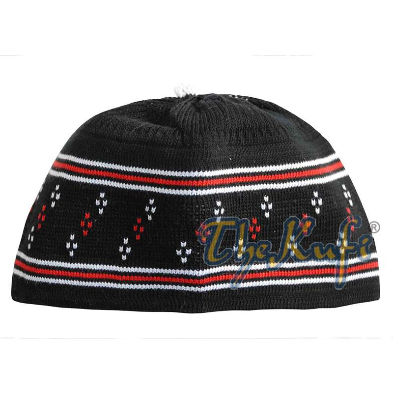 Baby Black and Red Stretch-knit Cotton Pom-pom Kufi Hat