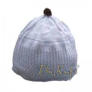 Baby Kufi White Stretch-knit Dark Brown Pom-pom Soft Cotton Beanie Skull Cap