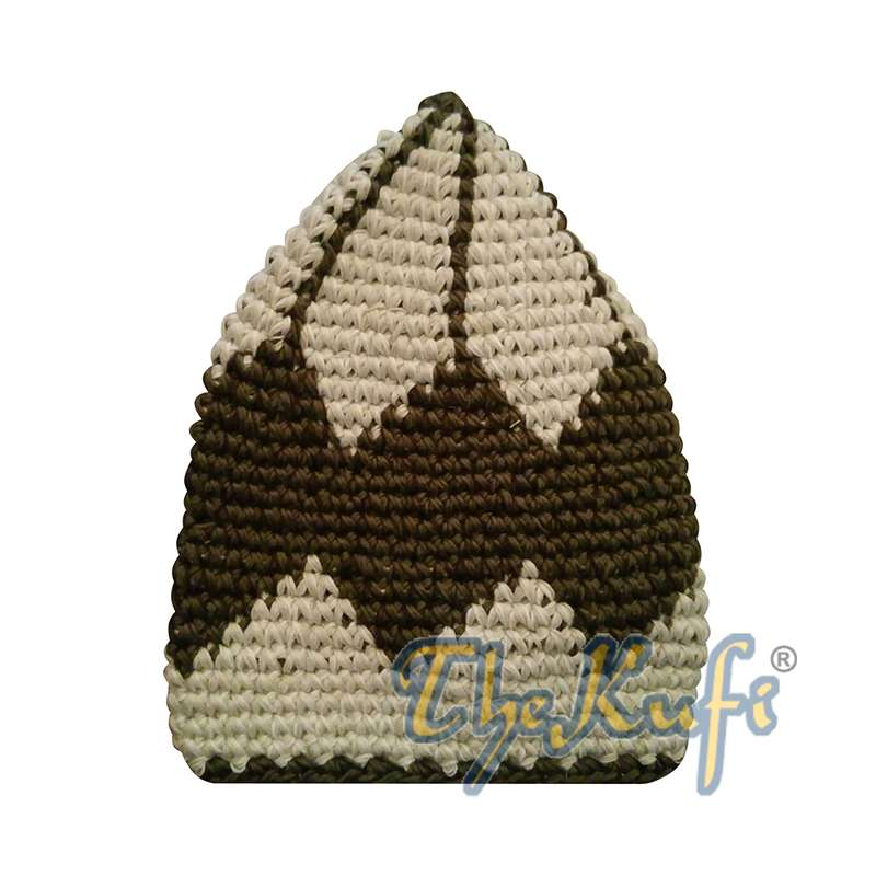 Hand-crocheted Cotton Sturdy Latte & Dark Olive Green Large Diamond Kufi Hat