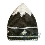 Hand-crocheted Cotton Sturdy Faded Dark Forest Green & Off-White Small Diamonds Line Kufi Hat