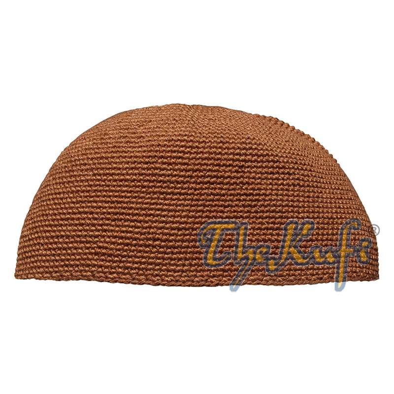 Plain Rust Brown Hand-crocheted Cotton Kufi Hat