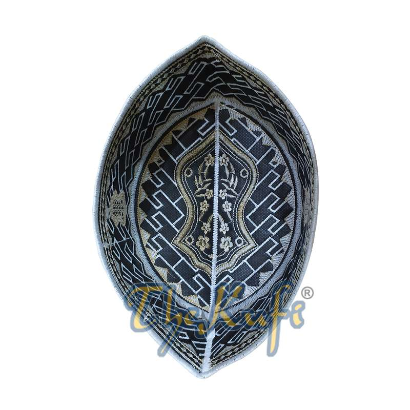 Textured White and Light Brown Embroidered Sandal Kufi Hat