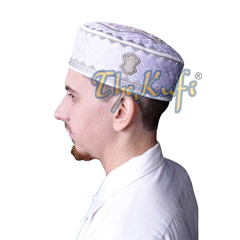Textured White Gray and Golden Ivory Embroidered Design Sandal Kufi