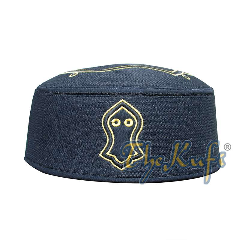 Rigid Black Golden Embroidered Sandal Kufi Crown