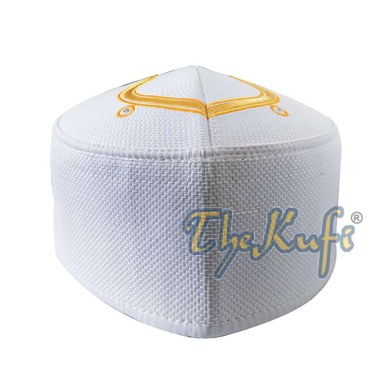 Rigid White Golden Embroidered Sandal Kufi Crown