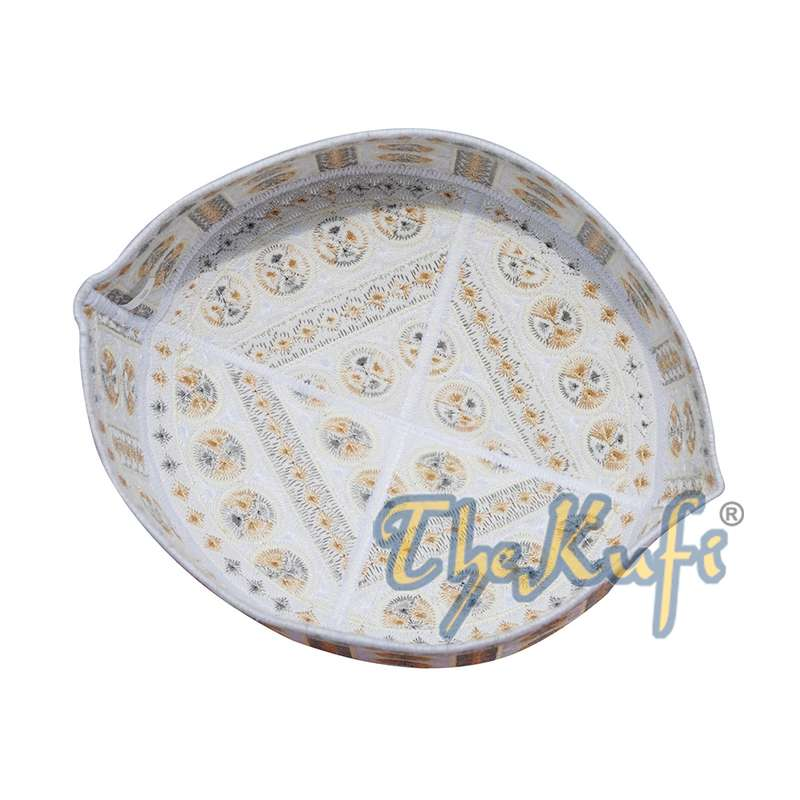 White and Yellow Embroidered Circle Design Rigid-Semi Pakistan Kufis