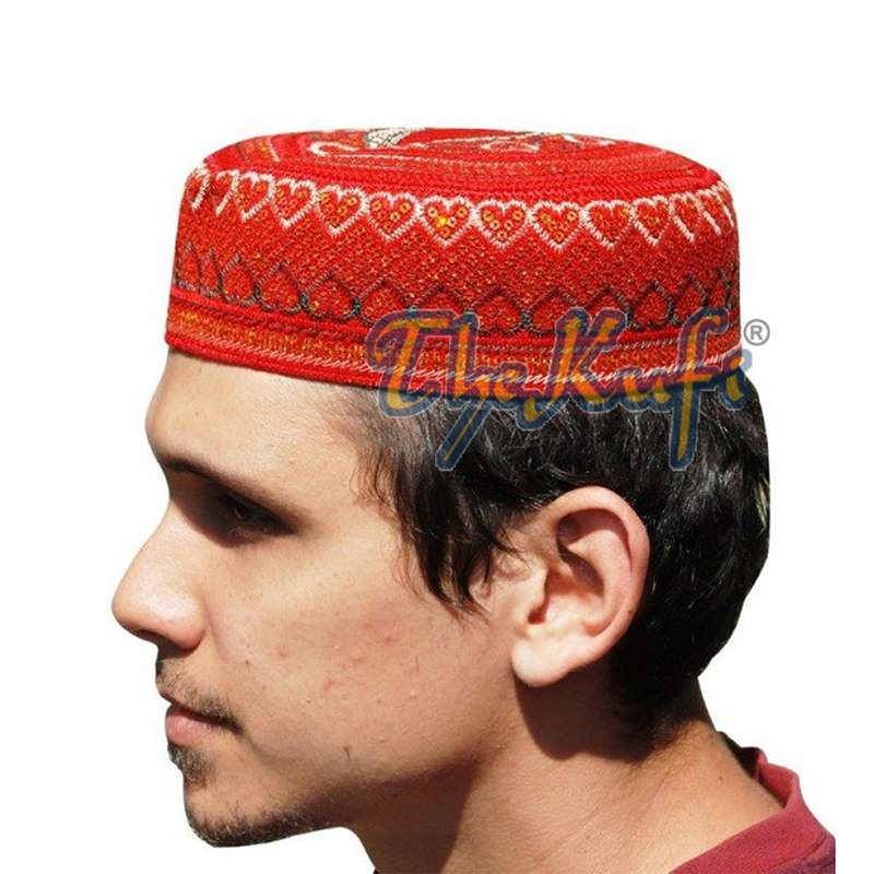 Red Pakistani Style Rigid Embroidered Sequin Kufis