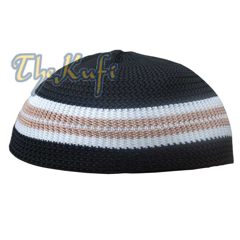 Black with Brown & White / 1 Line Kufi Hat