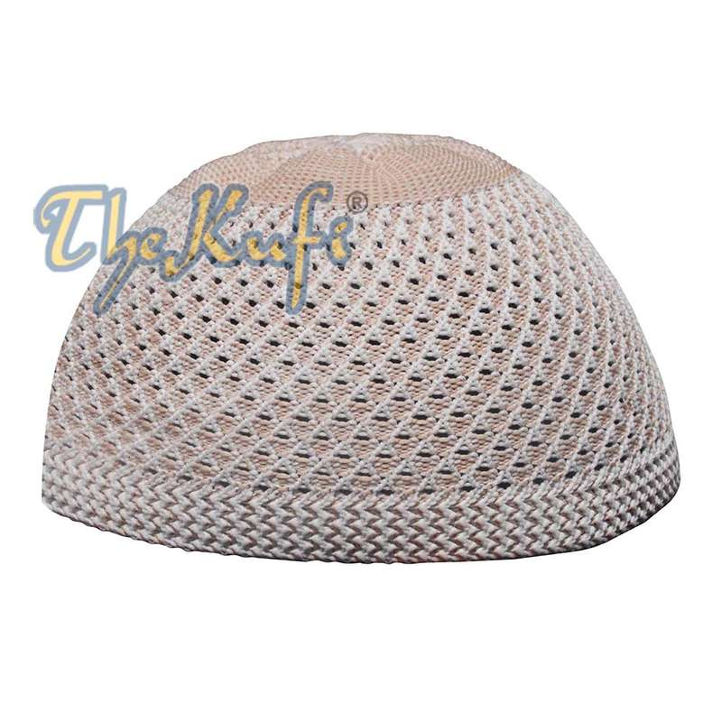 Faded Light Brown Open-Weave Nylon Stretchy Kufi Hat