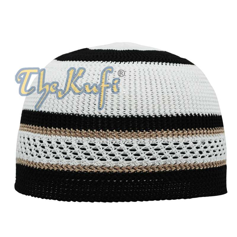 Muslim Cap White and Black with Brown Stripes Nylon Stretchy Textured Kufi Hat Skullcap Dotted Lines