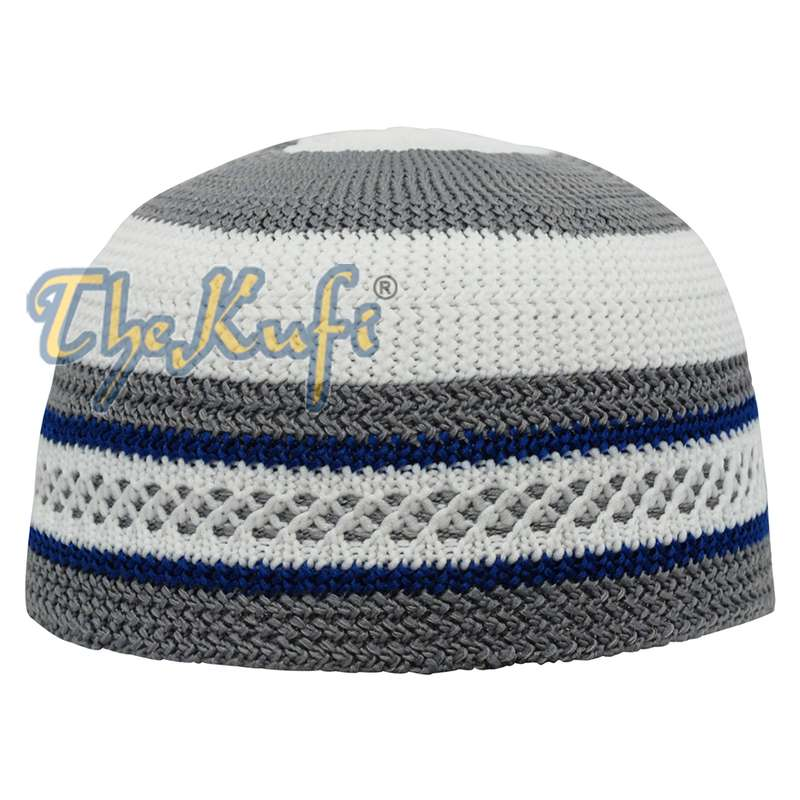 Islamic White and Grey with Navy-blue Stripes Nylon Stretchy Textured Kufi Hat Skullcap Topi Skullie