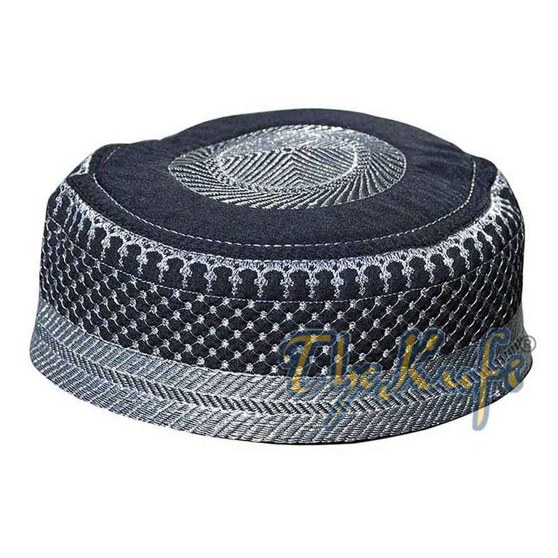 Black Silver Quilted Padded Kufi Hat