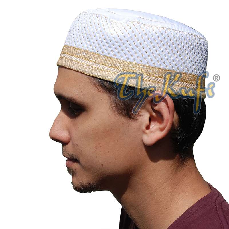 Quilted White & Gold Padded Kufi