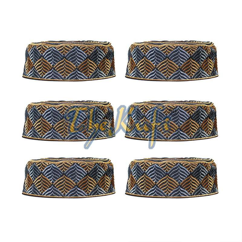 Set of 6 Semi-rigid Black with Gold with Silver Leaf Design Kufi