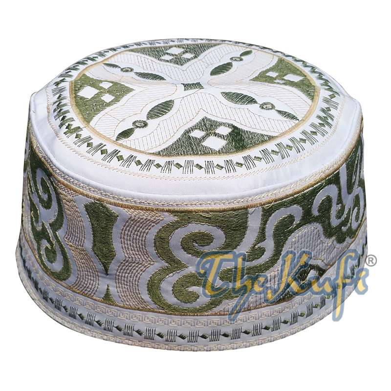 Omani Islamic Embroidered Kufi Hat White Base with Olive Green Cream Embroidery