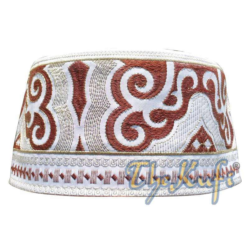 Omani Islamic Embroidered Kufi Hat White Base with Brown and Beige Embroidery