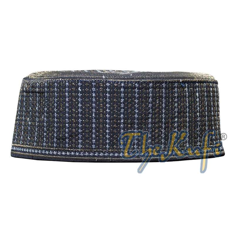 Rigid Metallic Thread Embroidered Kufi with Golden Top Ring
