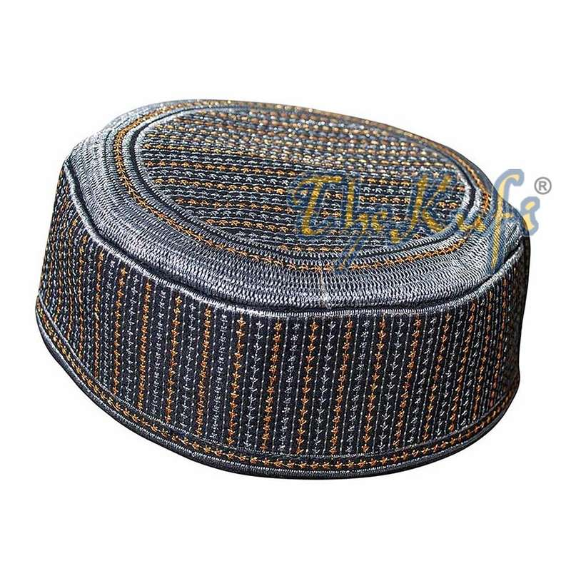 Rigid Metallic Thread Embroidered Kufi with Silver Ring