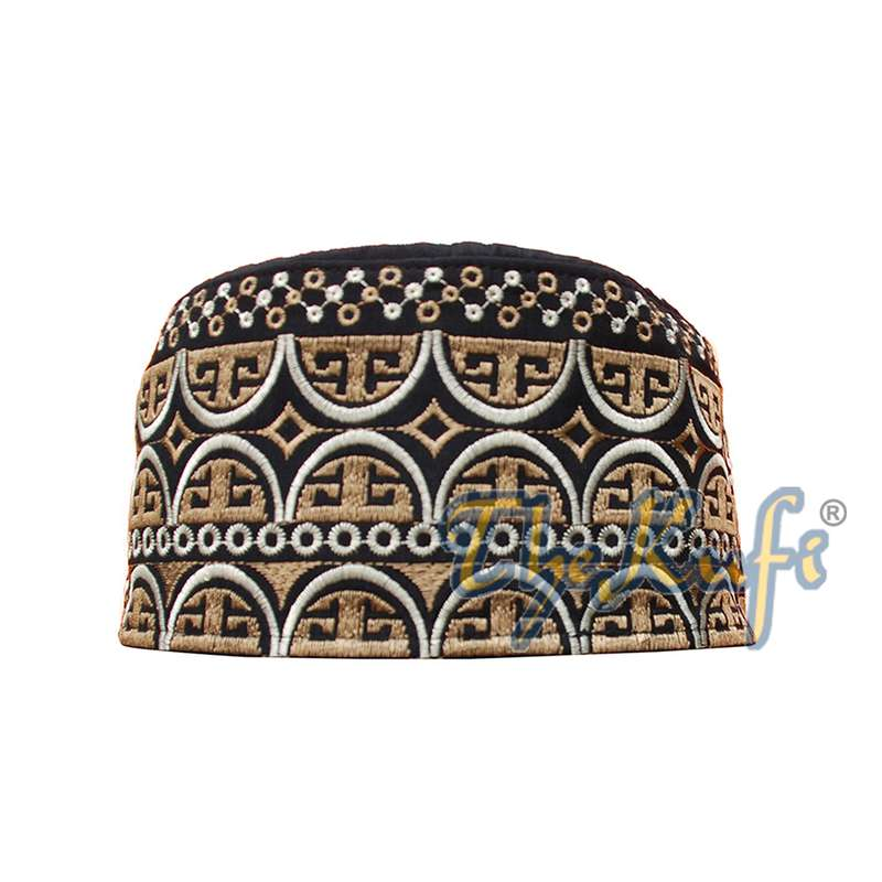 Omani Black Base with Silver Brown Arch Embroidery Kufi