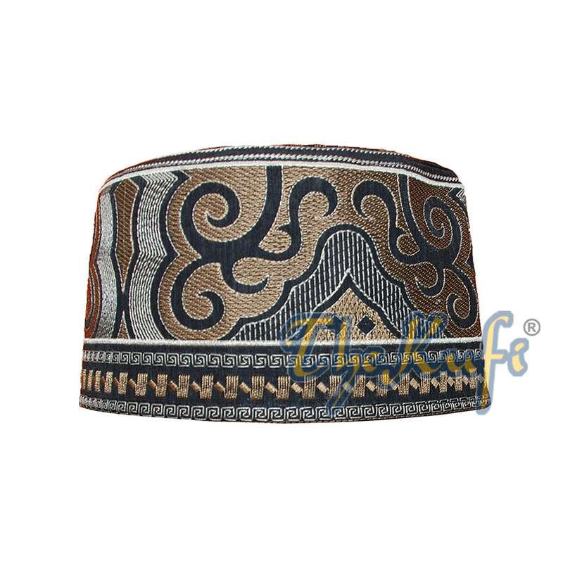 Omani Black Base with Silver Brown Cloud Embroidery Kufi