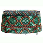 Omani Black Green & Orange Embroidery Kufi