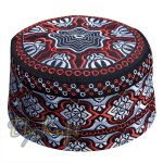 Tall Omani Kufi Hat Black Red & Silver Embroidery