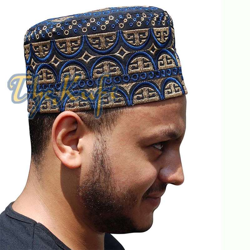 Tall Omani Kufi Hat Black Blue & Brown Embroidery