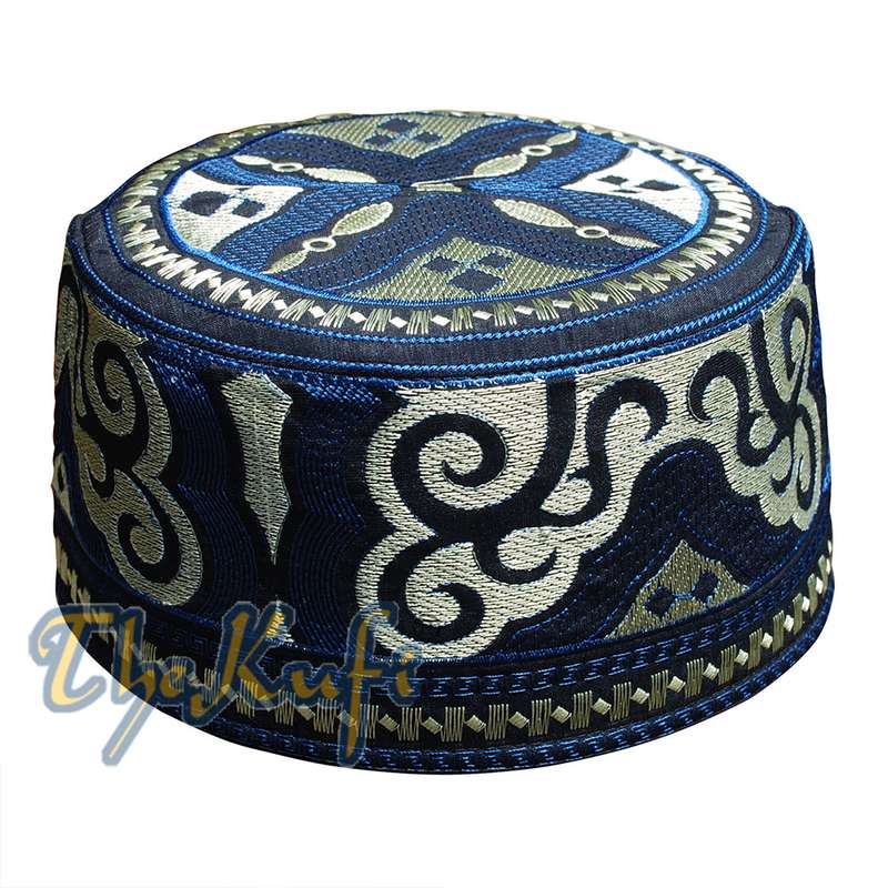 Omani Kufi Hat Black Blue & Gold Embroidery