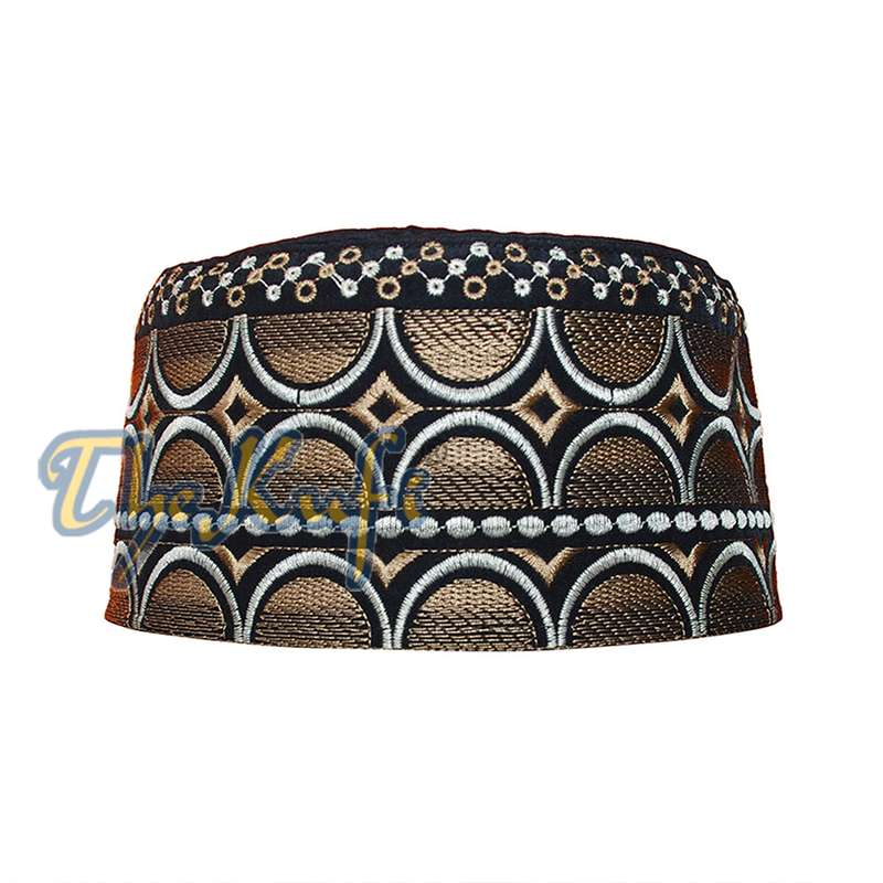 Omani Black Base with Silver Brown Plain Arch Embroidery Kufi