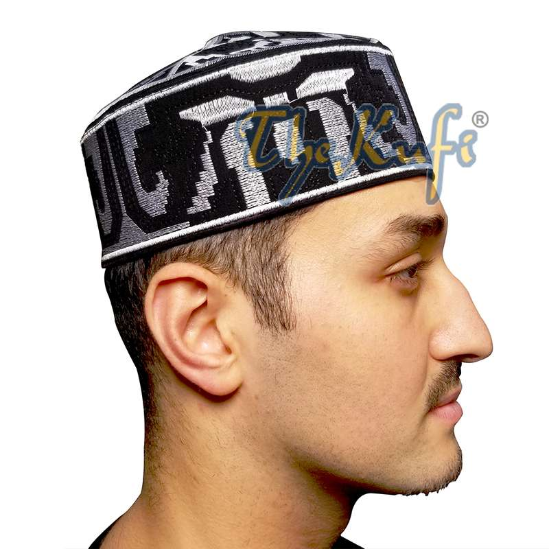 Exclusive Black Abstract Design Kufi Hat with Silver-tone Embroidery Semi-rigid Crown Muslim Hat