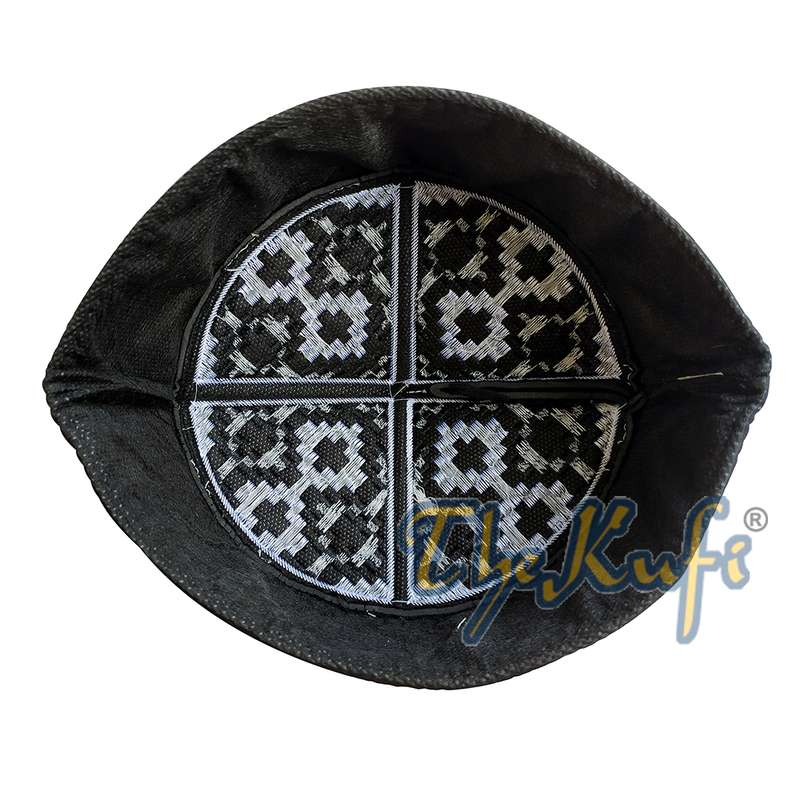 Exclusive Black & Silver-tone Embroidery Vertical Diamond Pattern Round Kufi Semi-rigid Peak-top Crown Moslem Hat