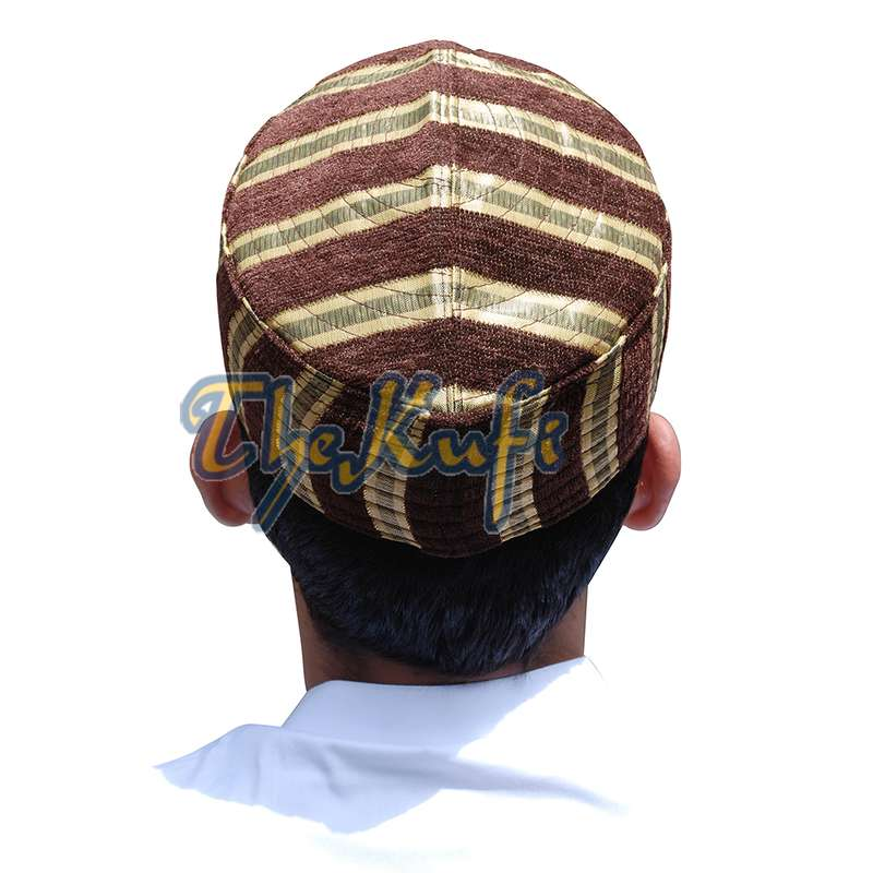 Gold Brown Striped Velveteen Mix Semi-Rigid Kufi