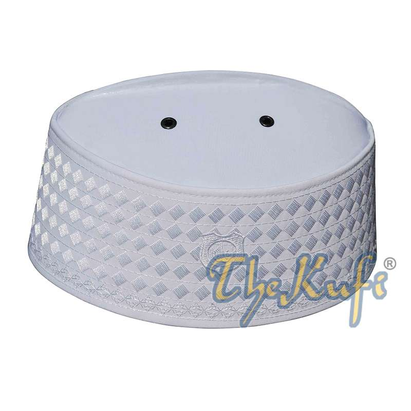 Exclusive Handcrafted White Rigid Embroidered Kufi