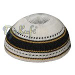 Faded Black Gold And Cream Cotton Stretch Kufi Cap