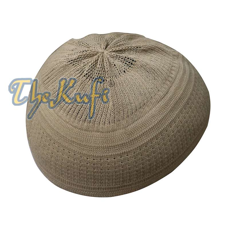 Light Olive Green Cotton Stretch Kufi Hat Prayer Skull Cap Taqiyah
