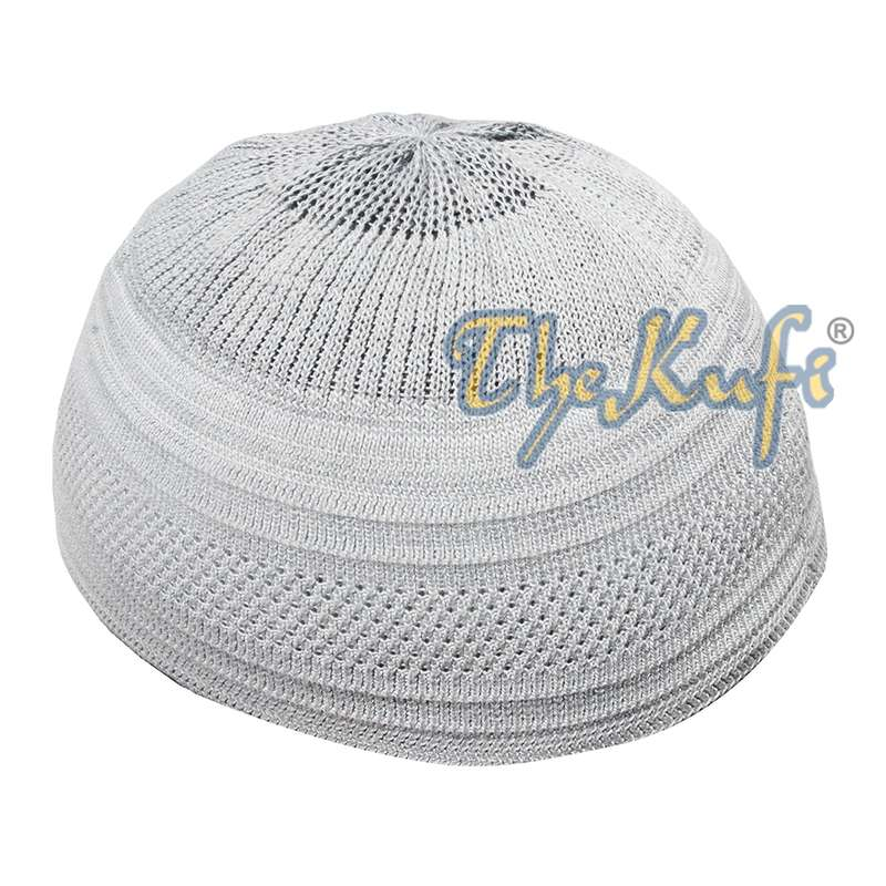 Silver Gray Cotton Stretch-Knit Material Kufi Hat Beanie Cap