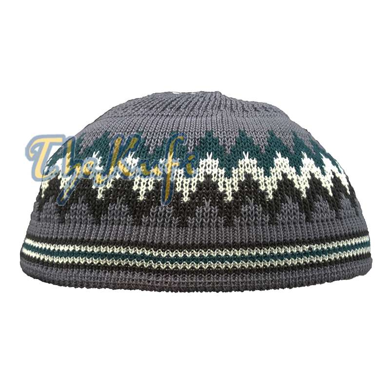 Gray, Green, White, Black Stretch-Knit Kufi Hat Skull Cap - Comfortable Fit - Unique Design
