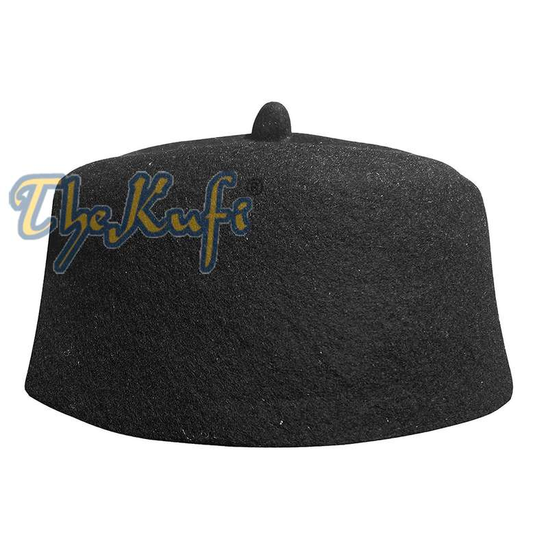 Black Felt Wool Fez Hat with Tip Kufi Prayer Cap