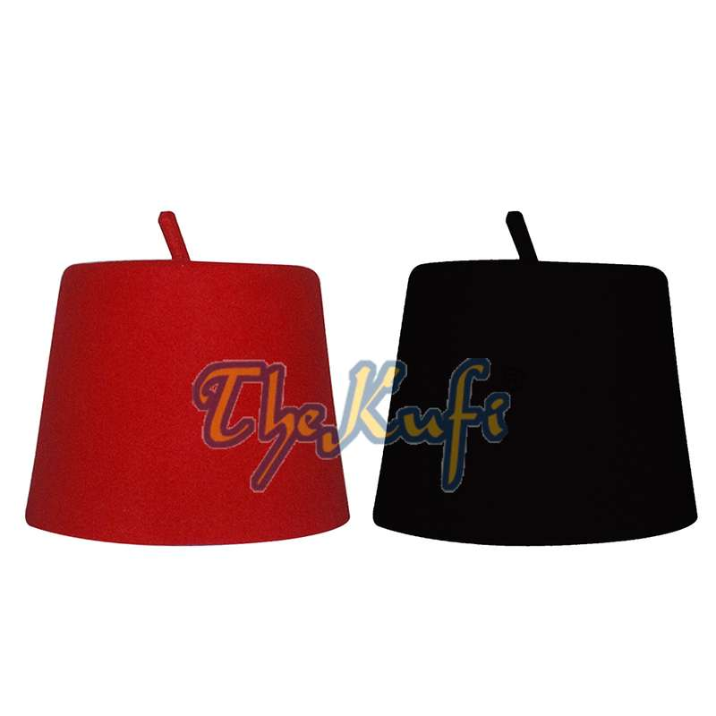 Set Of Black and Red Tall Fez Tradition Felt Perforated Tarabush with Stem