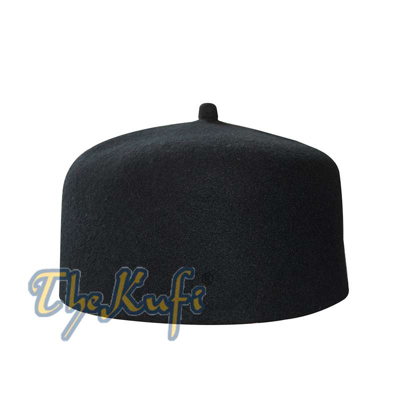 Unique High Quality Black Fine Australian Felt Fez Kufi with Tip