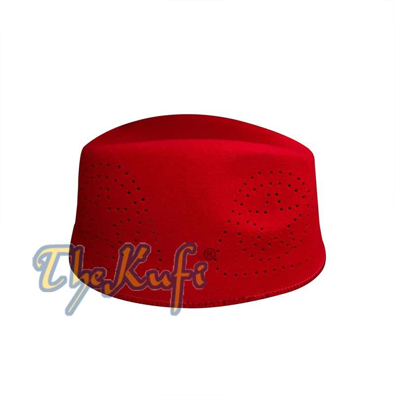 Red Fez African Hat Rigid Wool Felt Concaved Oval Kufi