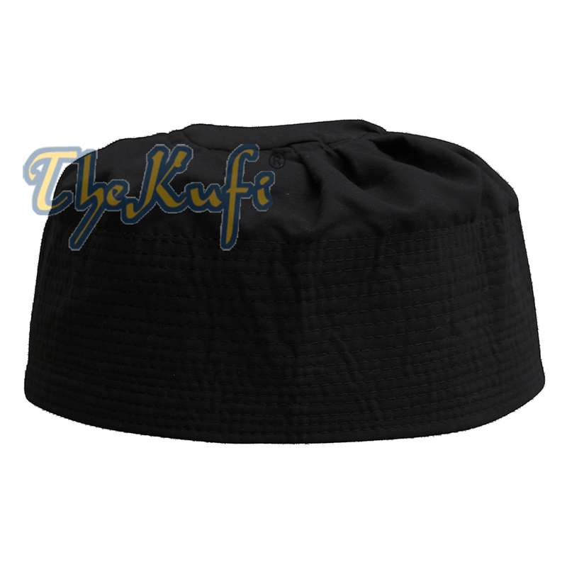 Black Fabric Pleated-top Cotton Kufi Hat