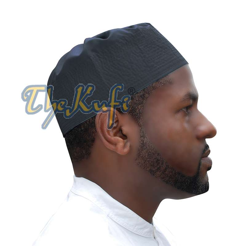 Dark Gray Fabric Pleated-top Cotton Kufi Hat