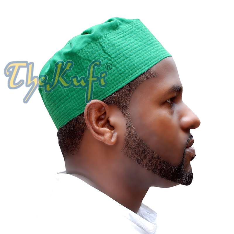Green Fabric Pleated-top Cotton Kufi Hat