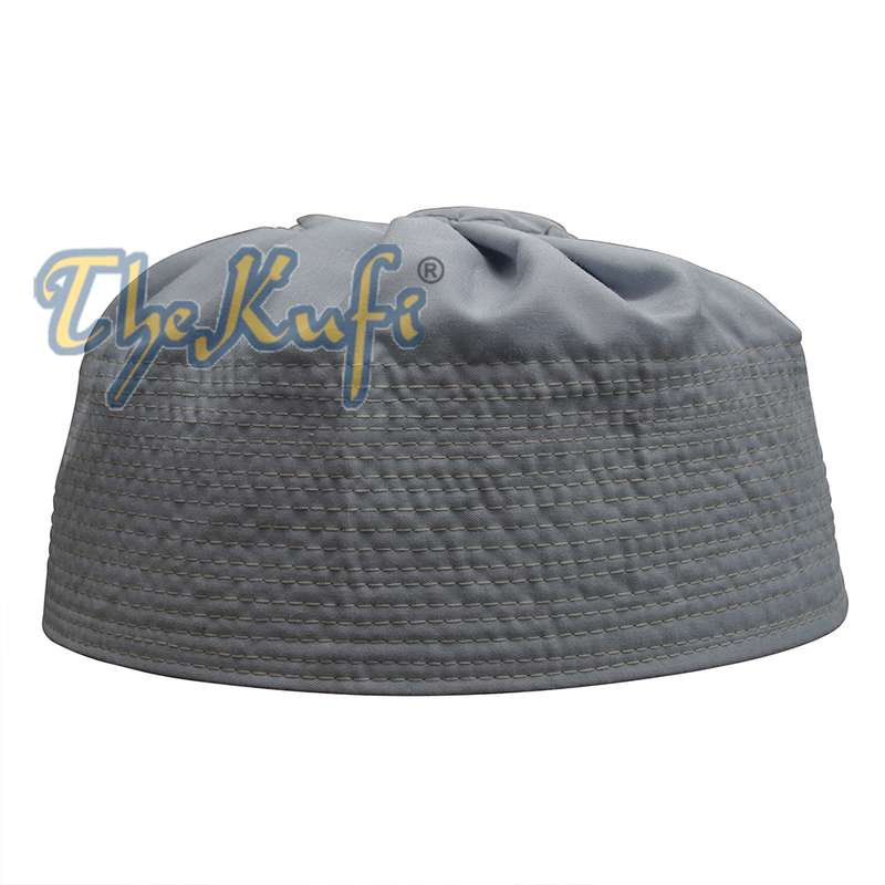 Gray Fabric Pleated-top Cotton Kufi Hat
