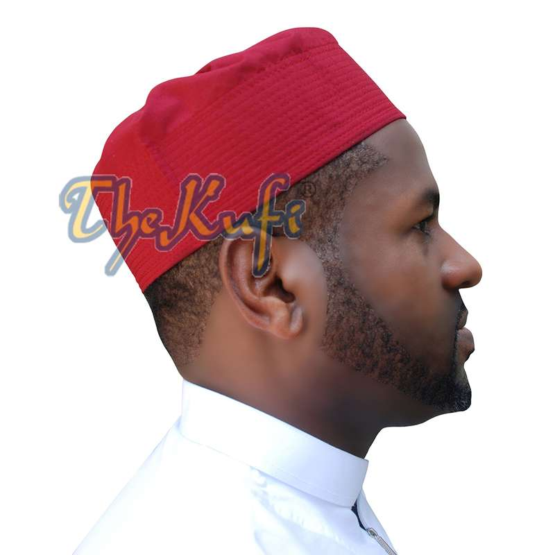 Maroon Fabric Pleated-top Cotton Kufi Hat