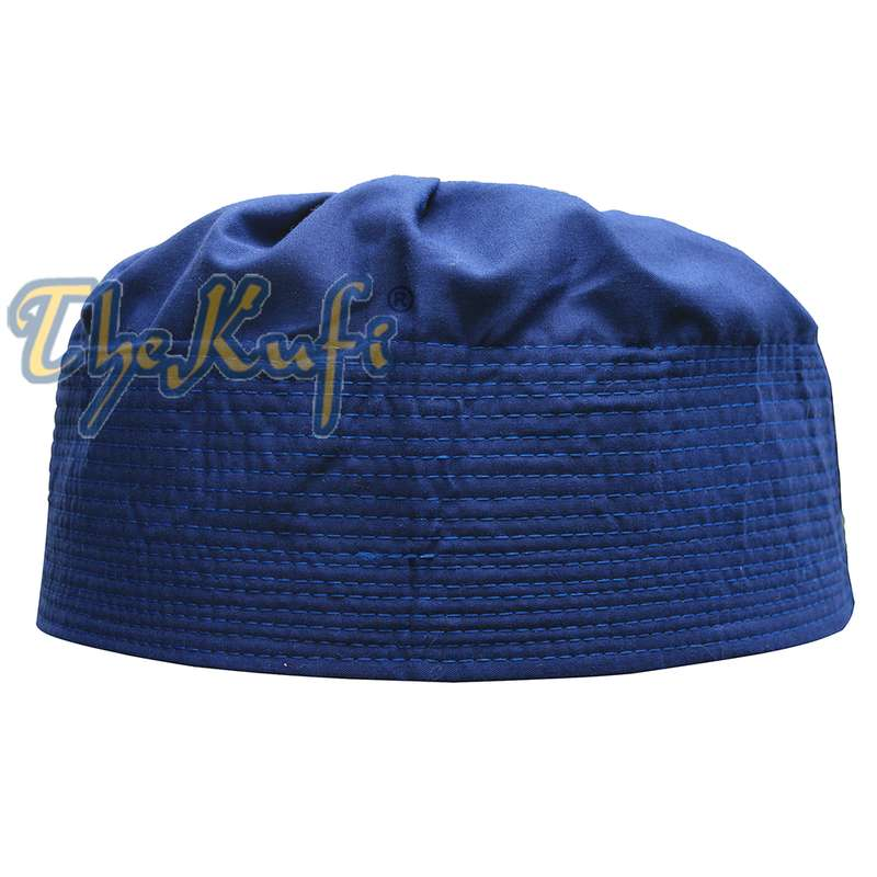 Royal Blue Fabric Pleated-top Cotton Kufi Hat