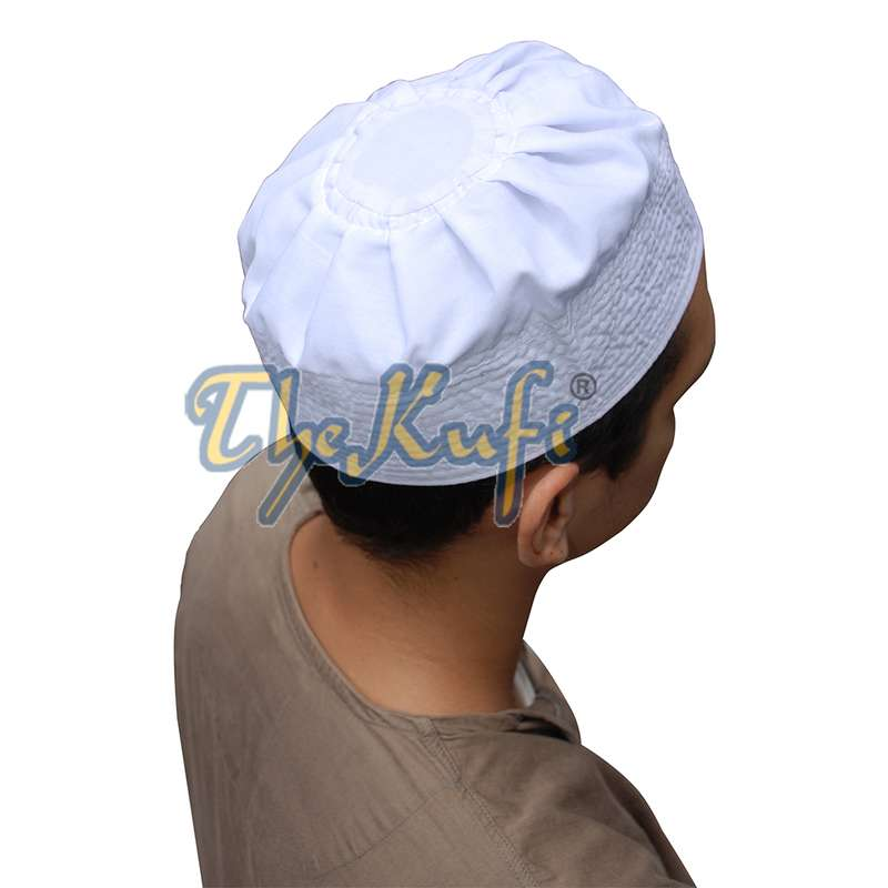 White Fabric Pleated-top Cotton Kufi Hat