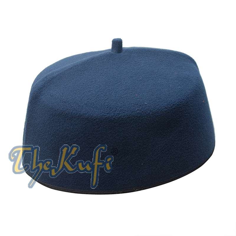 Dark Blue Fez-style Kufi with Tip